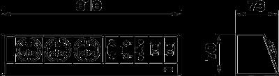 Схема Настольный бокс DB без крепления, с 3 розетками, 1 разъемом VGA, 1 разъемом Miniklinke, 1 разъемом USB и 2 разъемами RJ45 CAT 7 — арт.: 6116963