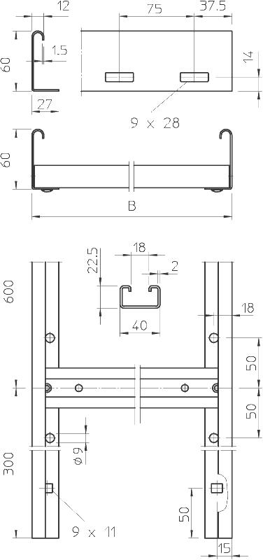 Схема Вертикальный кабельный лоток SLL лестничного типа для средних нагрузок, длина 6000 мм — арт.: 6010620