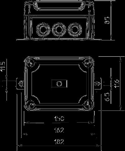 Схема Огнестойкая распределительная коробка FireBox T100ED для устройств передачи данных с внешним креплением и ударопрочной крышкой — арт.: 7205640