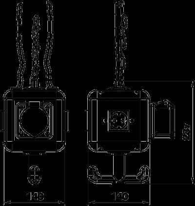 Схема Блок питания VH-4, с 3 розетками с защитным контактом и 1 розеткой CEE 16 A — арт.: 6109804