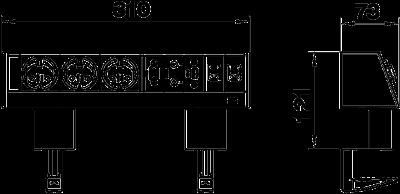 Схема Настольный бокс DB с крепежным зажимом, с 3 розетками, 1 разъемом VGA, 1 разъемом Miniklinke, 1 разъемом USB и 2 разъемами RJ45 CAT 6 — арт.: 6116960