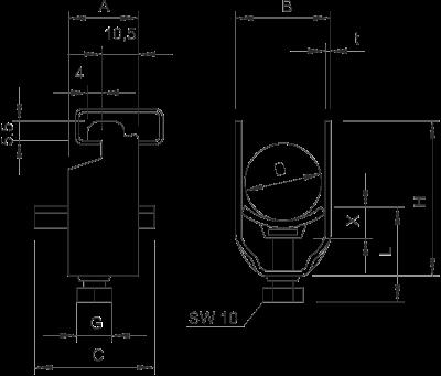 Схема Зажимная скоба 1-секционная, с пластиковой прижимной пластиной — арт.: 1163124