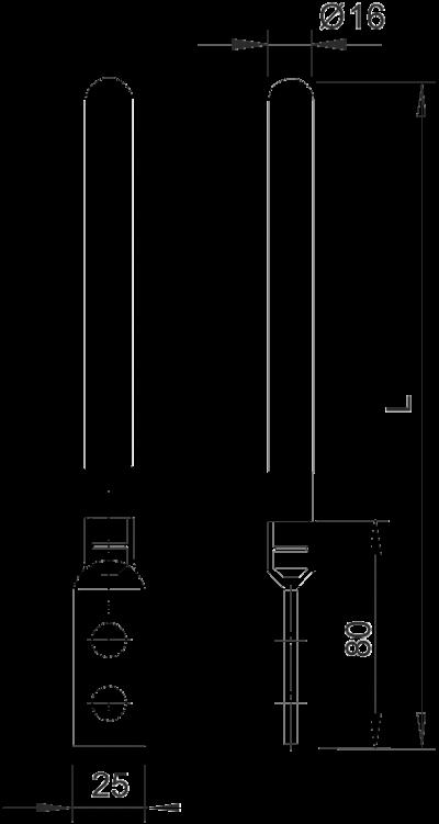 Схема Молниеприемный стержень/стержень заземления, с соединительным выступом — арт.: 5424151
