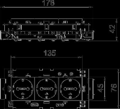 Схема Розетка 0° Connect 80 с защитным контактом, тройная — арт.: 6120452