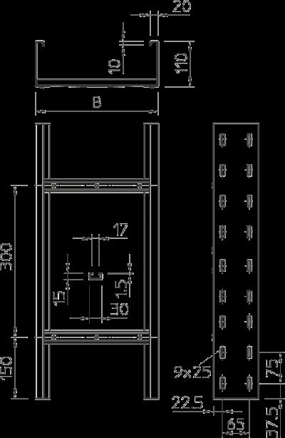 Схема Кабельный лоток WKLG 110 лестничного типа для больших расстояний — арт.: 6311202