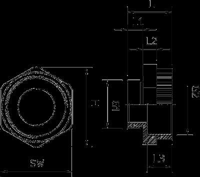 Схема Промежуточный переходник с метрической резьбой — арт.: 2031450
