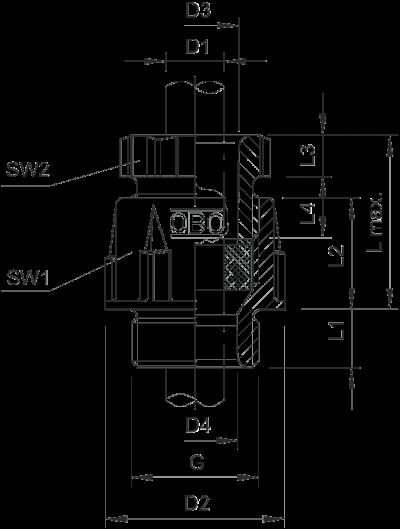 Схема Конусный кабельный ввод с резьбой PG — арт.: 2036061