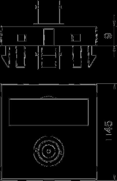 Схема Мультимедийная рамка с разъемом BNC, ширина 1 модуль, с прямым выводом, для соединения 1:1 — арт.: 6105018