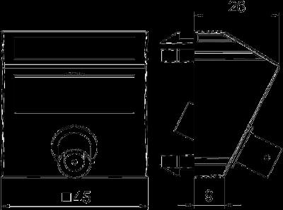 Схема Мультимедийная рамка с разъемом BNC, ширина 1 модуль, с наклонным выводом, для соединения 1:1 — арт.: 6105030
