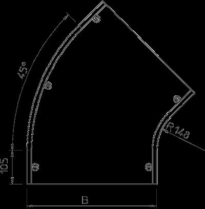 Схема Крышка угловой секции 45° 400-600 мм — арт.: 7128886
