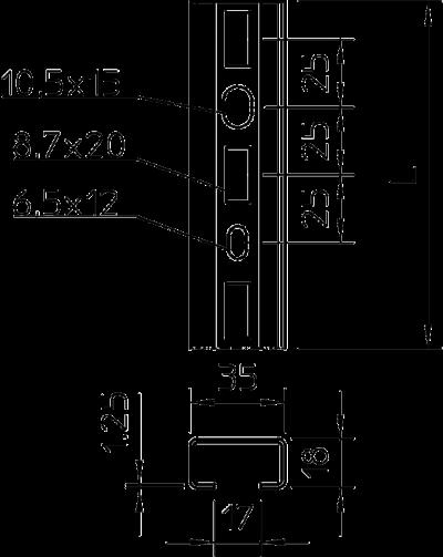 Схема С-образная профильная рейка для средних нагрузок, перфорированная — арт.: 1104349