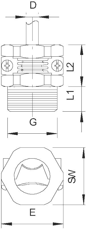 Схема Нажимной винт с резьбой PG, с разгрузкой от натяжения — арт.: 2023091