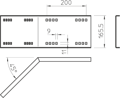 Схема Угловой соединитель 45° горизонтальный, внешний — арт.: 6227856