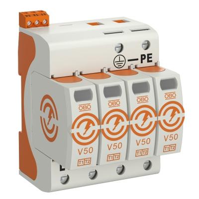 Комбинированный разрядник V50 4-полюсный с дистанционной сигнализацией, 280 В — арт.: 5093518