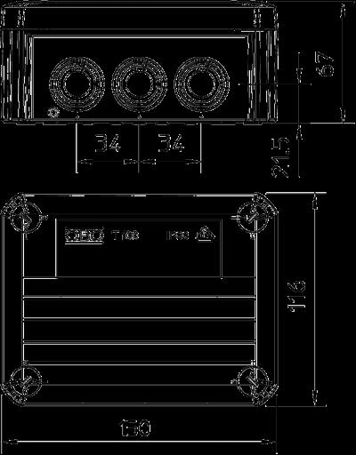 Схема Распределительная коробка Т-100 со вставным уплотнителем, трудновоспламеняемая — арт.: 2007347