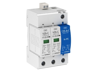 Разрядник для защиты от перенапряжений 2-полюсный + NPE, с дистанционной сигнализацией — арт.: 5094762