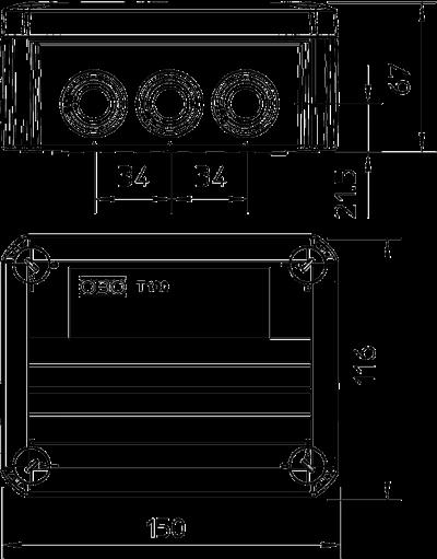 Схема Огнестойкая распределительная коробка FireBox T-100 ED с внутренним креплением — арт.: 7205510