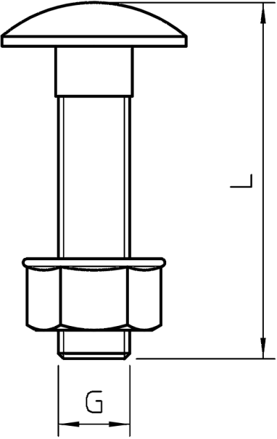 Схема Болт с полукруглой низкой головкой и комбинированной гайкой — арт.: 3175620