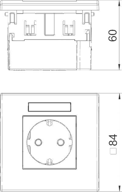 Схема Розетка AR45, одинарная, с полем для надписи, для горизонтальной установки — арт.: 6119421