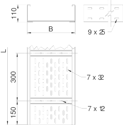 Схема Листовой кабельный лоток WKSG 110 для больших расстояний — арт.: 6098111