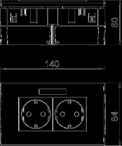 Схема Розетка AR45, двойная, с полем для надписи, для горизонтальной установки — арт.: 6119427