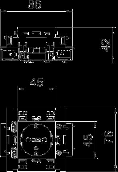 Схема Розетка 0° Connect 80 с защитным контактом, одинарная — арт.: 6120412