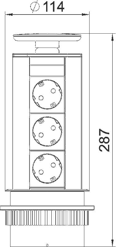 Схема Вертикальный настольный бокс DBV с 3 розетками — арт.: 6116862
