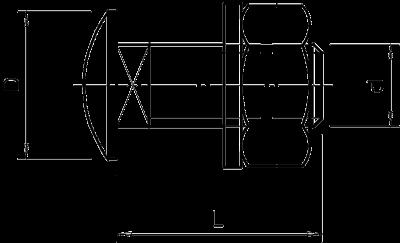 Схема Болт с полукруглой плоской головкой — арт.: 6407536