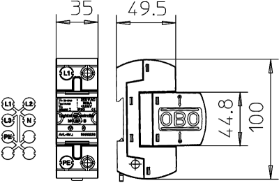 Схема Молниезащитный разрядник 1-полюсный — арт.: 5096847
