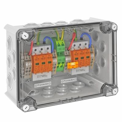Системное решение для защиты преобразователей фотогальванических установок, в корпусе, с разрядниками типа 1+2, с 2 треккерами MPP, 900 В постоянного — арт.: 5088566
