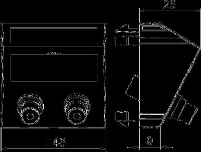 Схема Мультимедийная рамка с 2 разъемами Audio-Cinch, ширина 1 модуль, с наклонным выводом, для соединения пайкой — арт.: 6105054