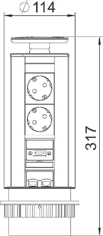 Схема Вертикальный настольный бокс DBV с 2 розетками, 1 разъемом HDMI и 2 разъемами RJ45 CAT6 — арт.: 6116887