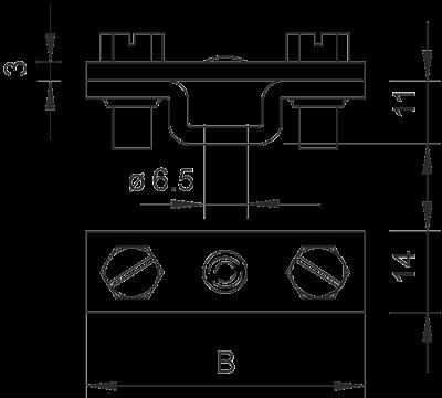 Схема Держатель для плоских проводников, с крепежным отверстием Ø 6,5 мм — арт.: 5032032