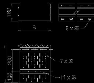 Схема Листовой кабельный лоток WKSG 160 для больших расстояний — арт.: 6098501