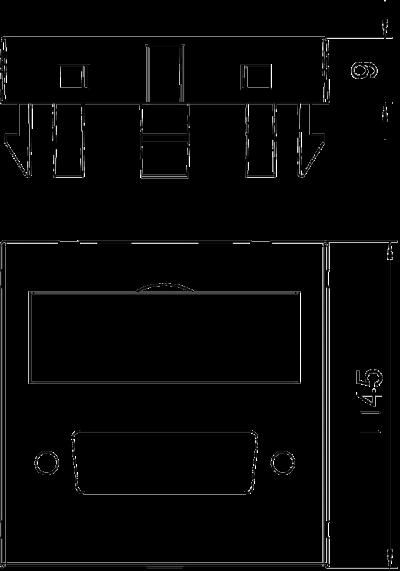 Схема Мультимедийная рамка с отверстием для штекерного разъема DVI, ширина 1 модуль, с прямым выводом — арт.: 6104778