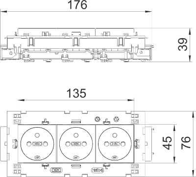 Схема Розетка 0° Connect 80 с заземляющим стержнем, тройная — арт.: 6120642