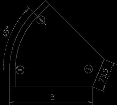 Схема Крышка угловой секции 45° 100-300 мм — арт.: 7128819