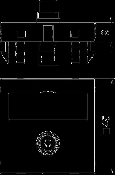 Схема Мультимедийная рамка с разъемом Video-Cinch, ширина 1 модуль, с прямым выводом, для соединения пайкой — арт.: 6104970