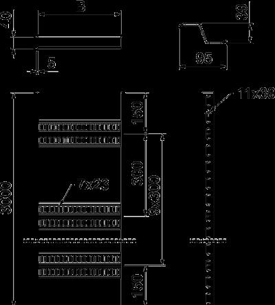 Схема Кабельный лоток лестничного типа с Z-образными перекладинами, для легких нагрузок — арт.: 7098162