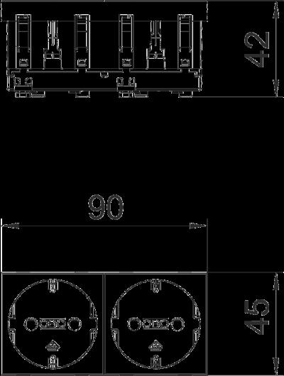 Схема Розетка 0° с защитным контактом, двойная — арт.: 6120022