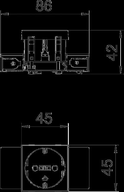 Схема Розетка 0° Connect 45 с защитным контактом, одинарная — арт.: 6120340