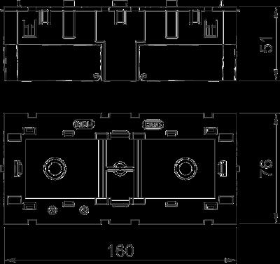 Схема Монтажная коробка тройная, для устройств Modul 45® — арт.: 6288579