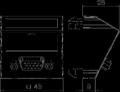 Схема Мультимедийная рамка с разъемом VGA, ширина 1 модуль, с наклонным выводом, с соединительным кабелем — арт.: 6104670