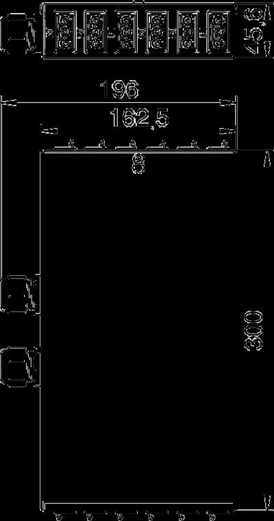 Схема Энергораспределитель UVS с фиксированным 5-полюсным подключением, с 6 3-полюсными гнездовыми разъемами черного и белого цвета — арт.: 6108010