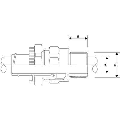 Схема A2FCNF Взрывозащищенный кабельный ввод для неармированного кабеля проложенного в гибком металлорукаве