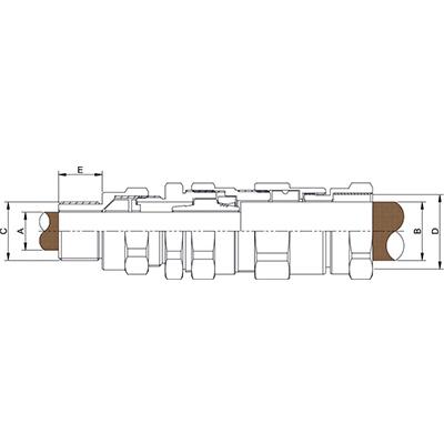 Схема E1FPF Взрывозащищенный кабельный ввод для армированного кабеля проложенного в трубе, внутреняя резьба