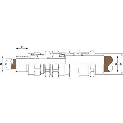 Схема E1FPM Взрывозащищенный кабельный ввод для армированного кабеля проложенного в трубе, внешняя резьба