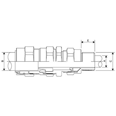 Схема E1FX Взрывозащищенный кабельный ввод с двойным уплотнением для бронированных PWA, STA, ASA и экранированых кабелей
